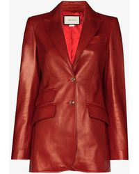 Gucci Single-breasted Leather Blazer - Red