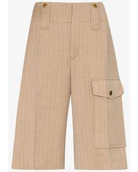 Chloé Pinstripe Cargo Shorts - Brown