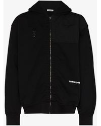 Tom Wood Zip-up Organic Cotton Hoodie - Black