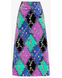 Gucci GG Rhombus Ramage Print Skirt - Purple