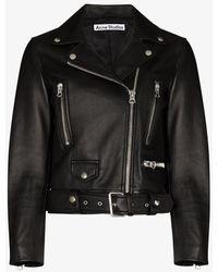 Acne Studios Mock Cropped Leather Biker Jacket - Black