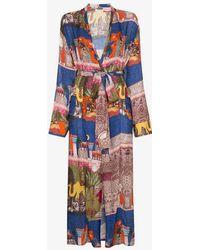 Chufy Morocco-print Robe - Blue