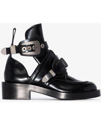 db4ffbda05443 Balenciaga Black Apron Buckle Leather Boots