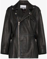 Ganni Collared Biker-style Jacket - Black