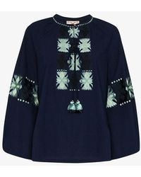 Figue Medina Embroidered Cotton Blouse - Blue