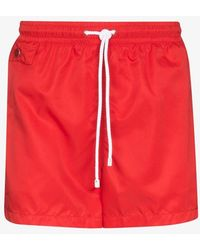 Kiton Drawstring Swim Shorts - Red