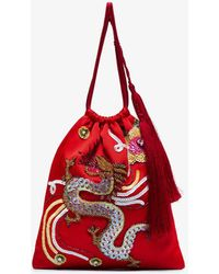 Attico - Sequin Embellished Dragon Bracelet Bag - Lyst