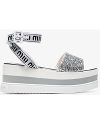 Miu Miu White 75 Glitter Embellished Logo Strap Leather Flatform Sandals - Metallic
