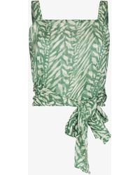 Cloe Cassandro Helena Tiger Print Silk Top - Green