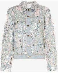Ashish - Sequin Embellished Ripped Denim Jacket - Lyst