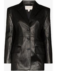 Matériel Single-breasted Faux Leather Blazer - Black