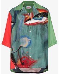 Charles Jeffrey LOVERBOY Hawaiian Graphic Print Silk Shirt - Blue