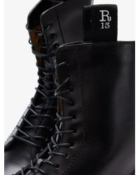 R13 Double Stack Lace-up Leather Boots - Black