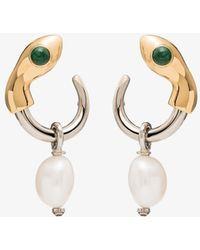 Chloé Snake Silver And Gold-tone Pearl Drop Earrings - Metallic