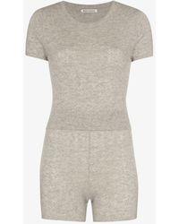 Reformation Villa Cashmere T-shirt And Shorts Set - Grey