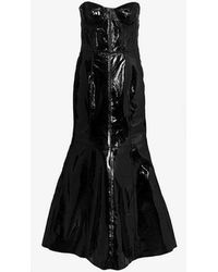 Natasha Zinko - Strapless Fitted Leather Gown - Lyst