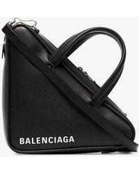 Balenciaga Black Triangle Leather Shoulder Bag