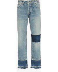 Ambush Mid Rise Patchwork Straight Jeans - Blue