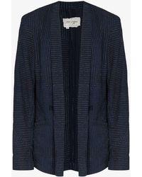 Greg Lauren Kantha Gl1 Ollie Embroidered Cotton Blazer - Blue