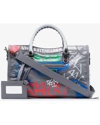 Balenciaga - Grey City Small Graffiti-print Leather Tote Bag - Lyst