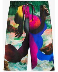 Edward Crutchley X Erik Jones Jason Print Silk Bermuda Shorts - Green