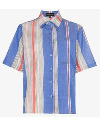 A Peace Treaty - Tarouba Stripe Print Cotton Silk-blend Shirt - Lyst