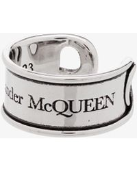 Alexander McQueen - Silver Tone Engraved Safety Pin Ring - Lyst
