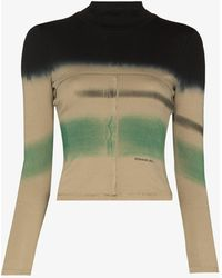 Eckhaus Latta Lapped Baby Striped Top - Green