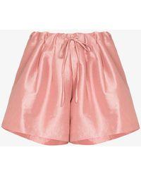 Kika Vargas Drawstring Waist Silk Shorts - Pink