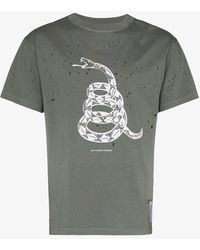 Satisfy Distressed Snake Print Cotton T-shirt - Gray