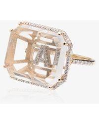 Mateo Womens 14k Yellow Gold Framed A Initial Diamond Ring - Metallic