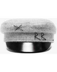 Ruslan Baginskiy Womens Grey Wool Baker Boy Hat - Gray