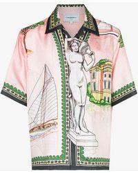 CASABLANCA X Browns 50 Lago De Casa Silk Shirt - Pink