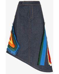 Angel Chen Embroidered Denim Skirt - Blue
