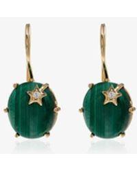 Andrea Fohrman Gold Mini Galaxy Malachite And Diamond Star Drop Earrings - Metallic