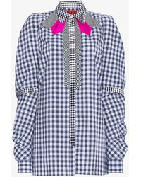 Ronald Van Der Kemp - Blue Gingham Shirt With Pink Accents - Lyst