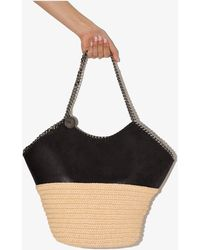 Stella McCartney Neutral And Black Falabella Large Raffia Tote Bag