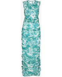 Markoo The Pleated Tie-dye Maxi Dress - Blue