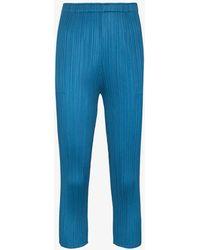 Pleats Please Issey Miyake Monthly Colours Slim Leg Plissé Trousers - Blue