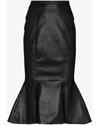 Alexandre Vauthier Fishtail Leather Midi Skirt - Black