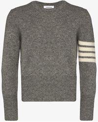 Thom Browne 4-bar Stripe Shetland Wool Sweater - Gray