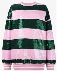 Ashish Striped Sequin Embellished Sweatshirt - Green
