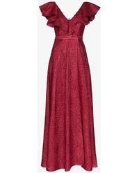 Vika Gazinskaya Ruffled Wool Blend Lamé Gown - Red