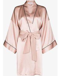 Olivia Von Halle Mimi Silk Robe - Pink