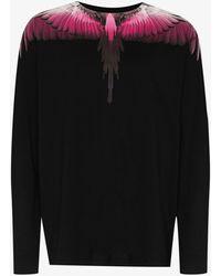 Marcelo Burlon Wings Print Long Sleeve Cotton T-shirt - Black