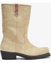 Our Legacy Neutral Flat Toe Suede Ankle Boots - Natural