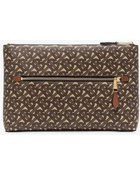 Burberry Brown Chase Monogram Leather Wash Bag