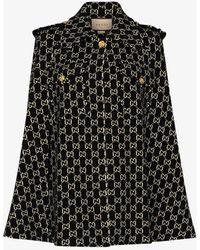 Gucci GG Jacquard Wool Cape - Black