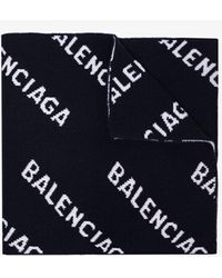 Balenciaga Navy And White Logo Intarsia Scarf - Black