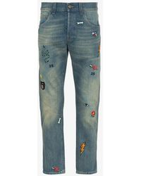 Gucci Mens Blue Tapered Denim Pant With Symbols